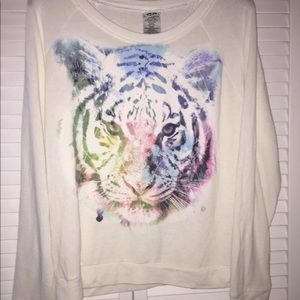 ML Sweaters - ML Multi Colored Tiger Face Sweater Top Large